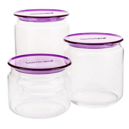 Набор банок POT 3 шт для сыпучих фиолетовая крышка