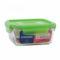 Лоток PURE BOX ACTIVE GREEN 760 мл квадратный с крышкой