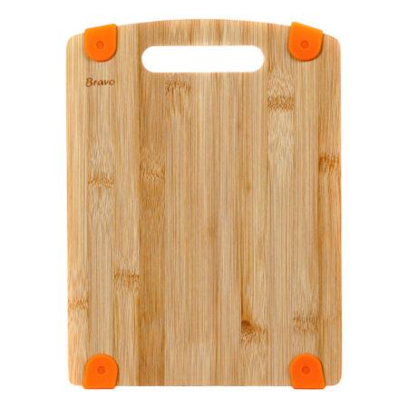 Доска разделочная BRAVO 24х19х1,2 см с силиконовыми вставками бамбук