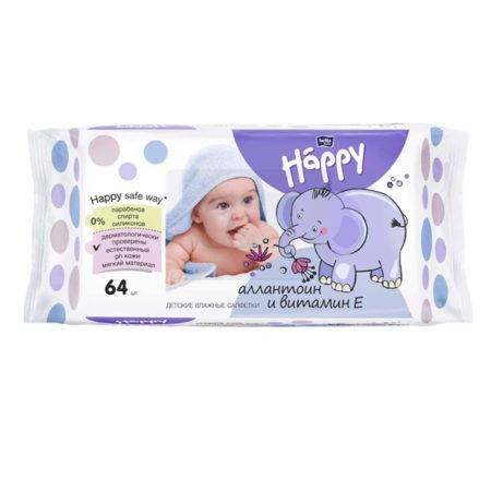 Салфетки детские Белла Happy 64 шт лосьон+витамин Е