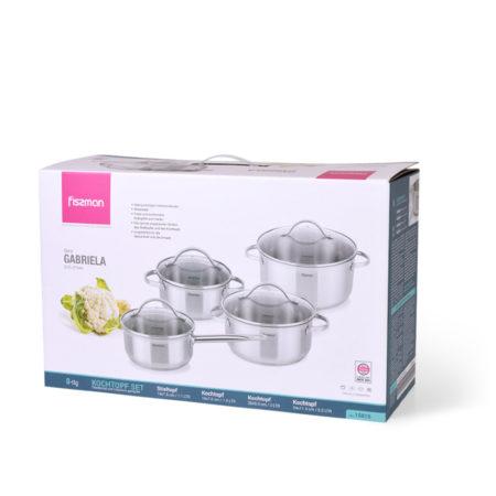 Набор посуды GABRIELA 8 предметов со стеклянными крышками FISSMAN