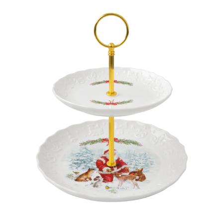 Подставка для десерта  CHRISTMAS CAROL 2 яруса 16/21 см