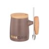 Кружка BREAK TIME с ложкой и деревянной крышкой 390 мл цвет коричневый