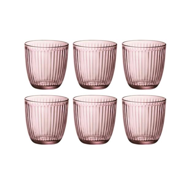 Набор стаканов BICCHIERI PRESSATI LINE 290 мл 6 шт цвет розовый