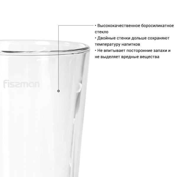 Набор стаканов RISTRETTO с двойными стенками 300 мл 2 шт FISSMAN