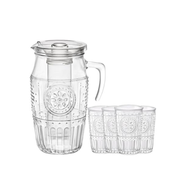 Набор Romantic 5 предметов кувшин с емкостью для льда + 4 стакана